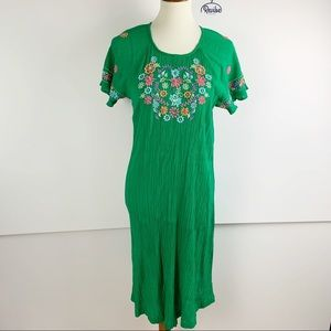 Patio Casuals Short Sleeve Embroidered Dress D1305